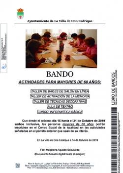 Actividades para mayores de 60 años, en La Villa de Don Fadrique...