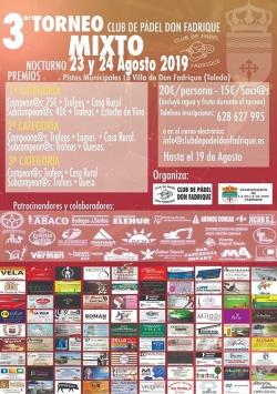 3º Torneo Mixto de Pádel, en La Villa de Don Fadrique...